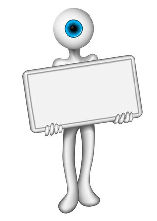 eye man holding a blank sign for promotion