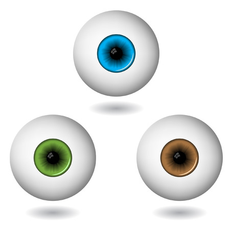 clarity: eye balls in three main colours isolated on white