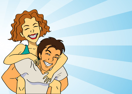 back to back couple: a happy couple with a joyful piggyback ride Illustration