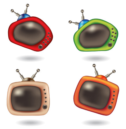 fun cartoon television icons isolated on white Vector