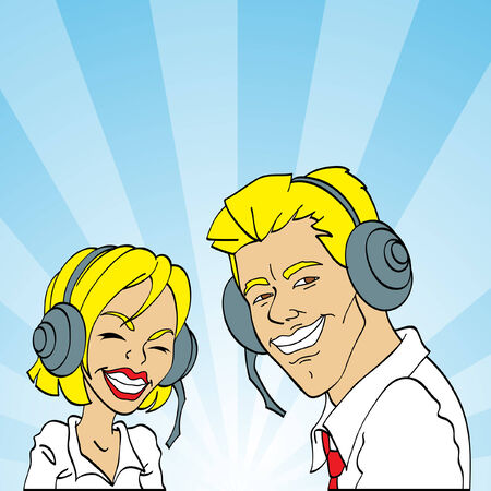 helpline: friendly male and female customer services representatives smiling