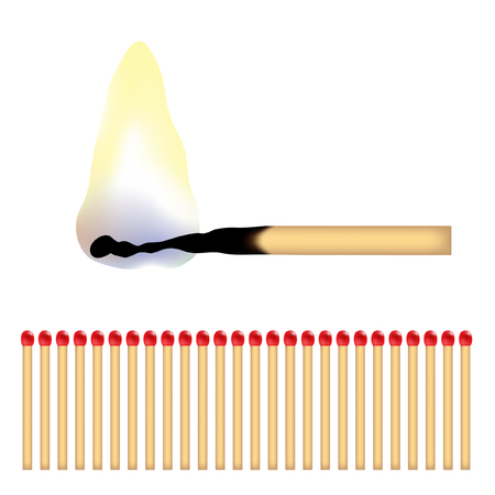 a burning matchstick and lots of red matches Stock Vector - 4017822