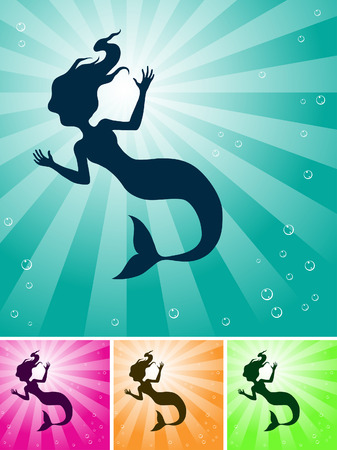 a mermaid under the ocean with light coming from they sky Vector