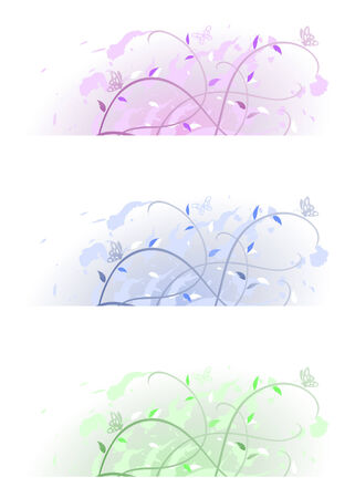 floral spring banners in pastel colours on white Stock Vector - 4017796