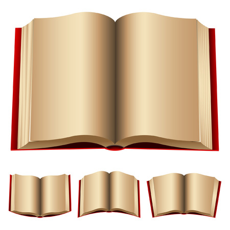 copertina libro antico: aperto rosso libri isolato su uno sfondo bianco