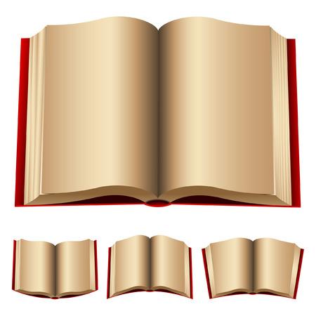 openen van rode boeken geïsoleerd op een witte achtergrond