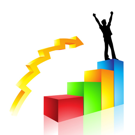 a graph illustration of a mans rise to success Vector