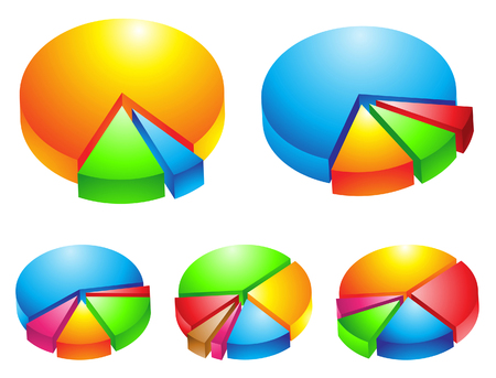 sales graph: 5 colourful 3d pie graphs isolated on white Illustration