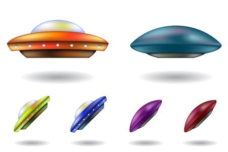 unidentified: coloridos objetos volantes no identificados vector caricaturas aisladas Vectores