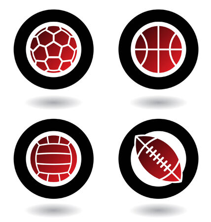 sports vector: Sports balls icons isolated on a white background