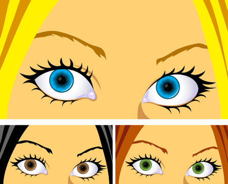 Women with bright colourful eyes and hair Vector