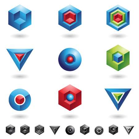 Spheres, Cubes, triangles and three dimensional shapes Vector