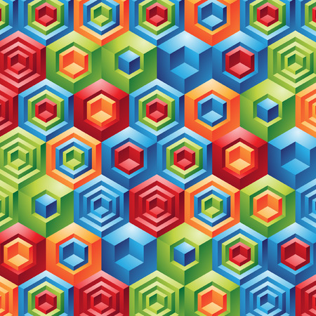 Three Dimensional colorful geometric cubes fun background Vector