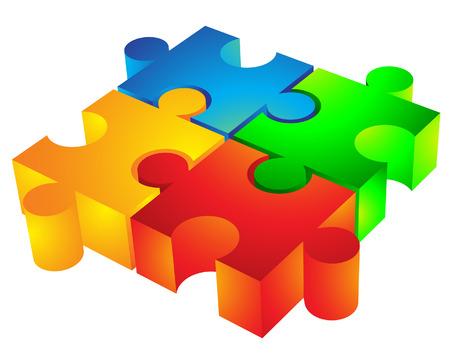 integrer: Jigsaw Puzzle: 3d ic�ne isol� sur blanc