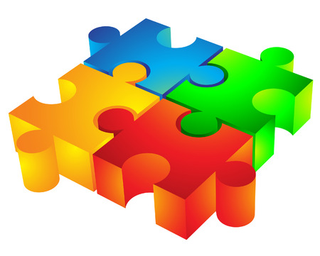 Jigsaw puzzle: 3d icon isolated on white Stock Vector - 4074949