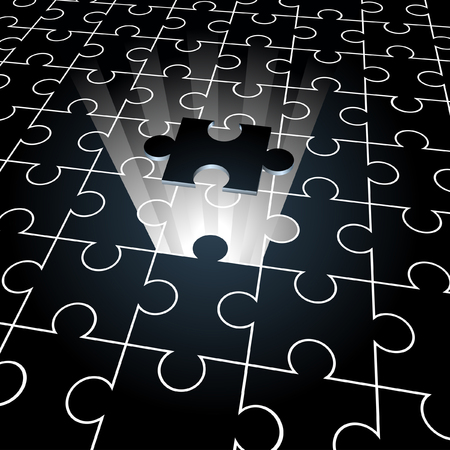 Jigsaw puzzle: the missing piece concept background Vector