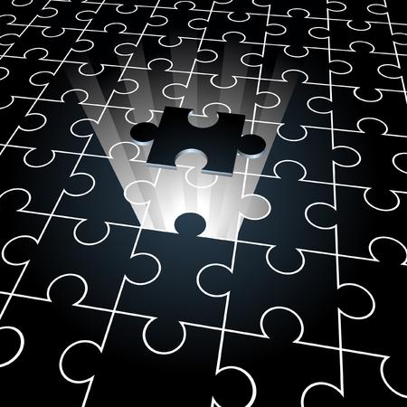 missing piece: Rompecabezas: la pieza que falta concepto de fondo Vectores