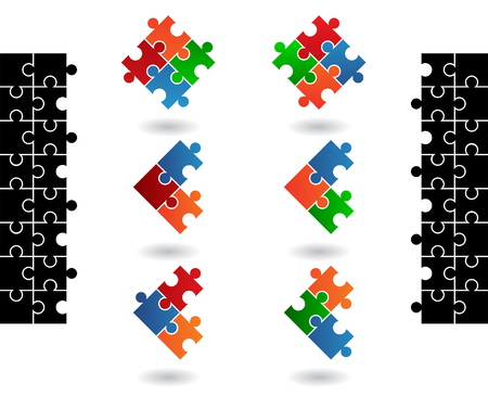 Jigsaw puzzle icons isolated on a white background Stock Vector - 4074950