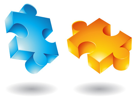 missing link: 3d Jigsaw puzzle icons isolated on white Illustration