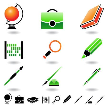Educación iconos y elementos de diseño aislado en blanco Foto de archivo - 4104385
