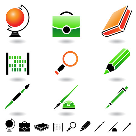 office supplies: Educational icons and design elements isolated on white Illustration