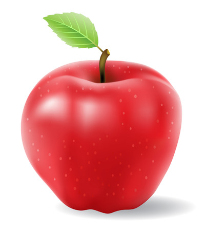 白い背景で隔離赤いリンゴ ベクトル  イラスト・ベクター素材