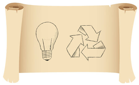 a sketch of a lightbulb and recycling symbol Vector