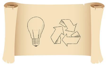 bombillo ahorrador: un boceto de una bombilla y el s�mbolo de reciclaje