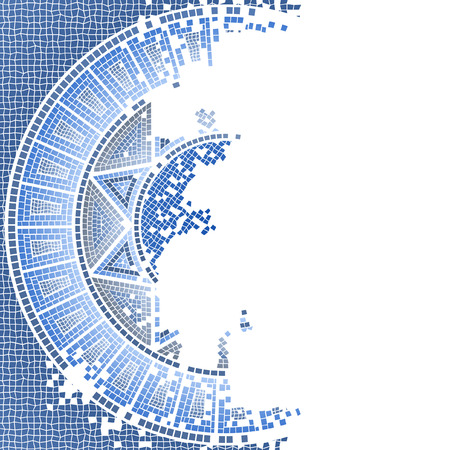Blue worn out mosaic vector and background Vector
