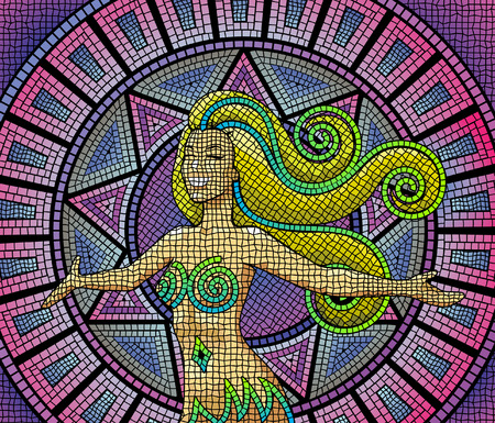 A happy smiling goddess on an ancient mosaic background Vector