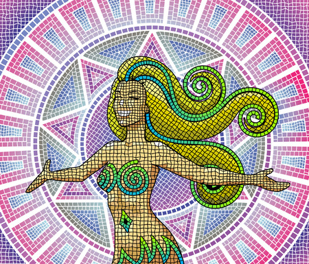 greek goddess: A happy smiling goddess on an ancient mosaic background