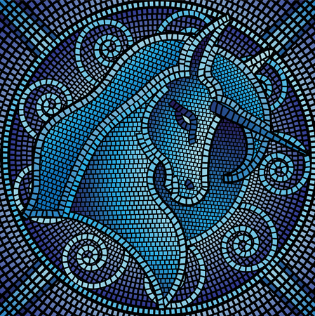 fresco: Lots of mosaic tiles forming a unicorn