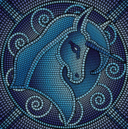 mythologie: Viele der Mosaik Kacheln bilden eine Einhorn Illustration