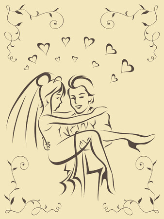familia en la iglesia: Feliz novio tiene la hermosa novia en brazos Vectores