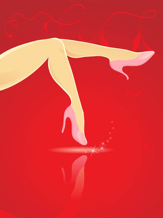 hot girl legs: sexy legs and high heels on a red hot background Illustration