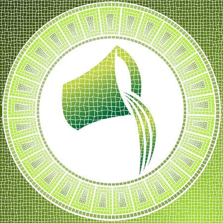 element air: aquarius zodiac sign on a mosaic Stock Vector - 4206795