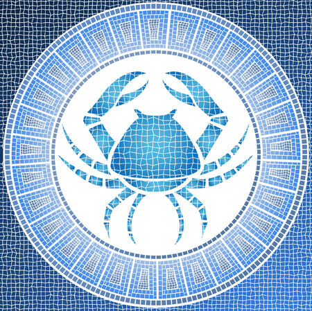 element water: cancer zodiac sign on a mosaic Vector