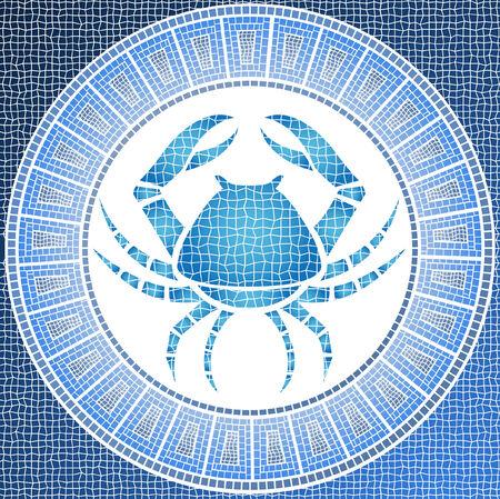 zodiacal sign: elemento agua: el c�ncer de signo del zodiaco en un mosaico