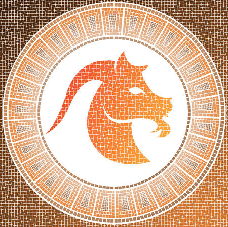 element earth: capricorn zodiac sign on a mosaic Stock Vector - 4206799