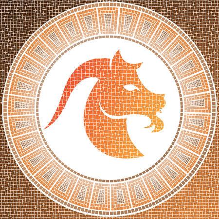 capricornio: elemento tierra: Capricornio signo del zodiaco en un mosaico Vectores