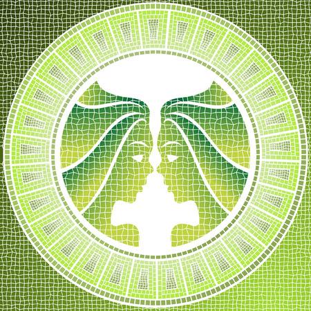 zodiacal sign: elemento aire: G�minis signo del zodiaco en un mosaico Vectores