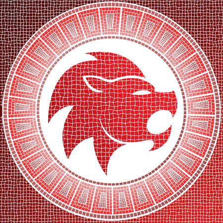 element fire: leo zodiac sign on a mosaic Vector
