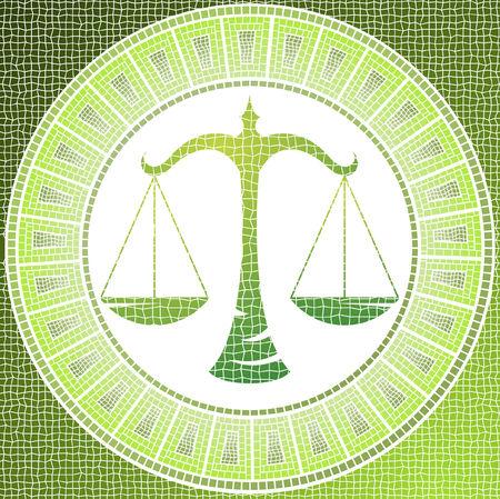 element air: libra zodiac sign on a mosaic Векторная Иллюстрация
