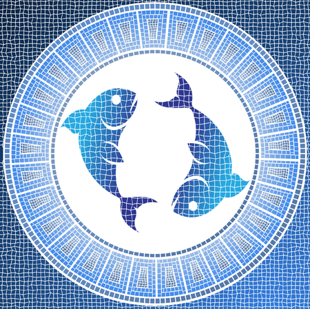 element water: pisces zodiac sign on a mosaic Vector