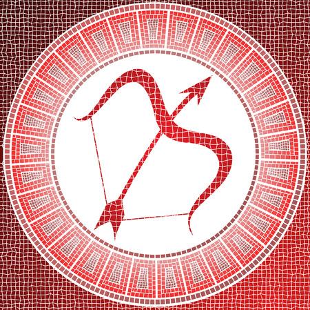 elemento fuego: Sagitario signo del zodiaco en un mosaico Ilustración de vector