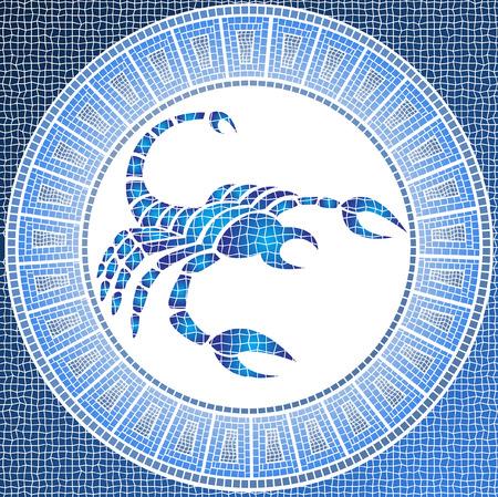 skorpion: Element Wasser: Skorpion Sternzeichen auf ein Mosaik Illustration