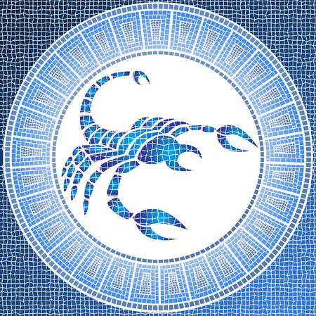 element water: scorpio zodiac sign on a mosaic Stock Vector - 4206784