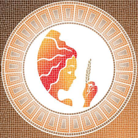 virgo: elemento tierra: Virgo signo del zodiaco en un mosaico