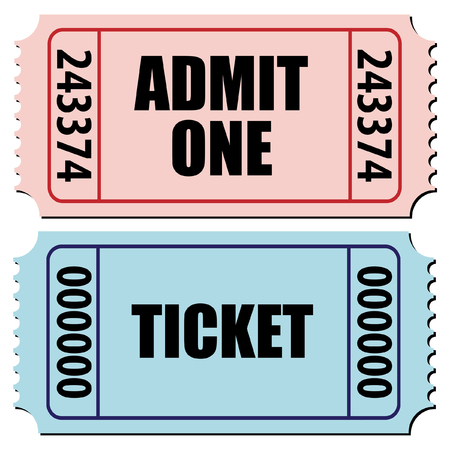admit: vector illustration of a pair of tickets isolated on white