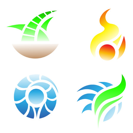 Four elements icons: Earth, Fire, Water, Air